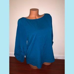 Zara Women's Basic Blue Bell Sleeve Blouse Top L